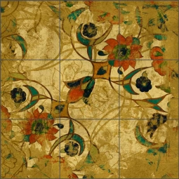 Persian Gold II by Louise Montillio Ceramic Tile Mural - OB-LM108b