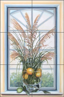 Lemon Grass by Louise Montillio Ceramic Tile Mural OB-LM11