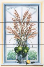 Lime Grass by Louise Montillio Ceramic Tile Mural - OB-LM12