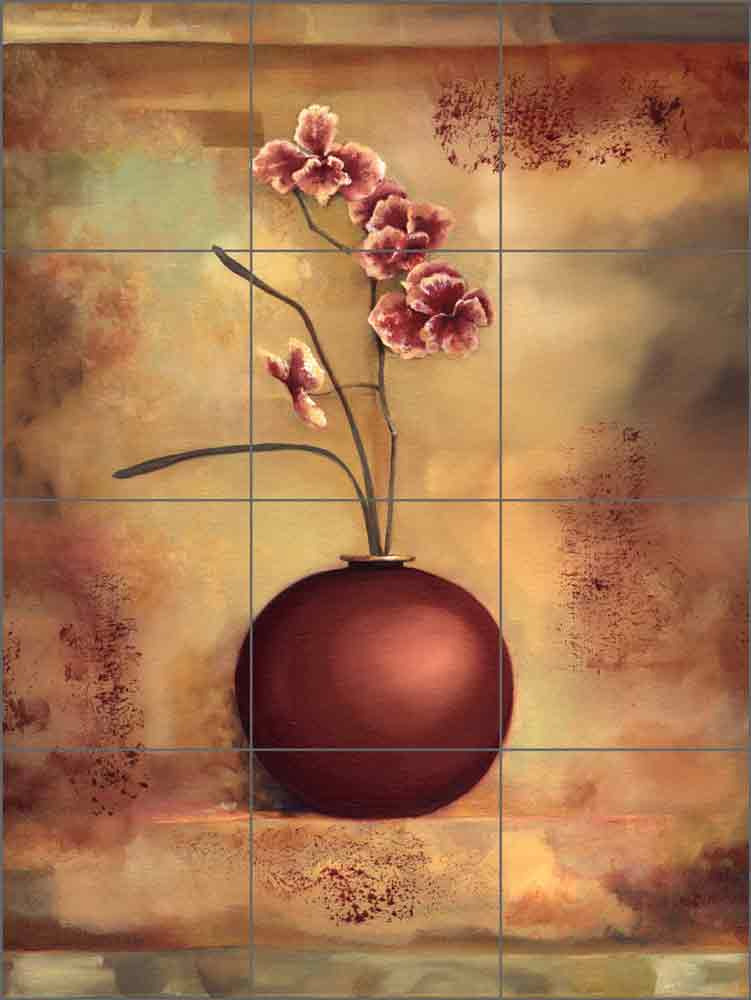 Orchid I by Louise Montillio Ceramic Tile Mural OB-LM18
