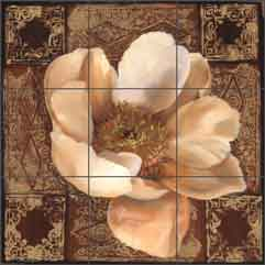"Montillio White Peony Floral Ceramic Tile Mural 18"" x 18"" - OB-LM34a"