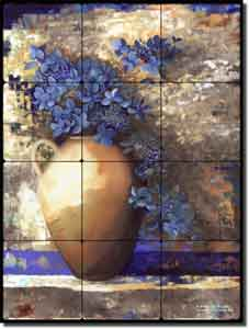 "Provence Urn II by Louise Montillio - Floral Tumbled Marble Tile Mural 12"" x 16"""