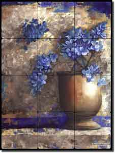 "Provence Urn I by Louise Montillio - Floral Tumbled Marble Tile Mural 12"" x 16"""