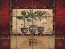 Tropical Palms I by Louise Montillio Ceramic Tile Mural OB-LM48-3