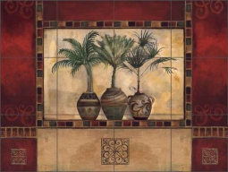 Tropical Palms II by Louise Montillio Ceramic Tile Mural OB-LM48-4