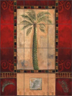 Tropical Palms III by Louise Montillio Ceramic Tile Mural - OB-LM48a