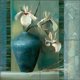 Iris I by Louise Montillio Ceramic Tile Mural - OB-LM51a