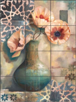 Mediterranean Poppies I by Louise Montillio Ceramic Tile Mural - OB-LM52a