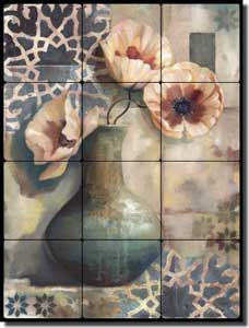 "Montillio Poppy Floral Tumbled Marble Tile Mural 12"" x 16"" - OB-LM52a"
