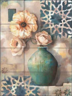 Tropical Palms II by Louise Montillio Ceramic Tile Mural OB-LM52b