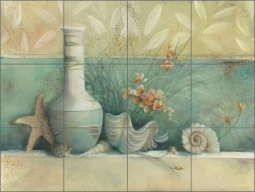 Tuscan Shells I by Louise Montillio Ceramic Tile Mural - OB-LM54a