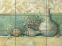 Tuscan Shells II by Louise Montillio Ceramic Tile Mural - OB-LM54b