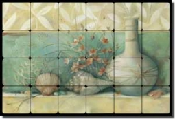 "Montillio Sea Life Shells Tumbled Marble Tile Mural 24"" x 16"" - OB-LM54b"