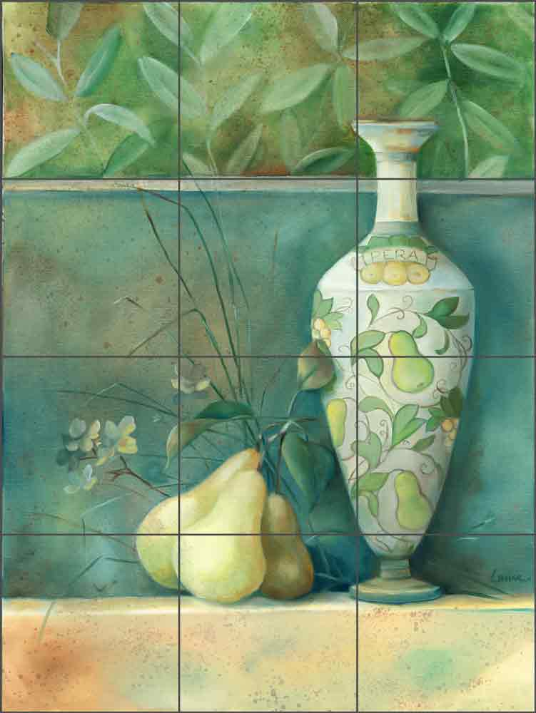 Tuscan Pears by Louise Montillio Ceramic Tile Mural OB-LM55a