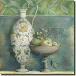 "Tuscan Mela by Louise Montillio - Fruit Apple Tumbled Marble Mural 24"" x 20"" Kitchen Shower Backspla"