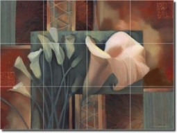 "Calla Tapestry by Louise Montillio - Flowers Lilyl Tumbled Marble Tile Mural 18"" x 24"" Kitchen Showe"
