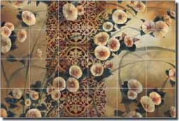"Montillio Morning Glory Floral Ceramic Tile Mural 25.5"" x 17"" - OB-LM63"