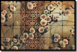 "Montillio Morning Glory Floral Tumbled Marble Tile Mural 24"" x 16"" - OB-LM63"