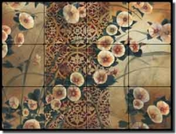 "Montillio Morning Glory Floral Tumbled Marble Tile Mural 24"" x 18"" - OB-LM63"