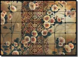 "Montillio Morning Glory Floral Tumbled Marble Tile Mural 28"" x 20"" - OB-LM63"