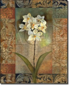 "Pattern Orchids by Louise Montillio - Flowers Floral Tumbled Marble Tile Mural 16"" x 12"" Kitchen Sho"
