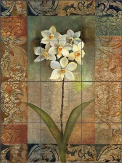 Pattern Orchids by Louise Montillio Ceramic Tile Mural - OB-LM65a