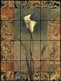 Montillio Lily Floral Tumbled Marble Tile Mural - OB-LM65b