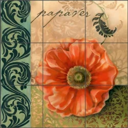 Red Poppy by Louise Montillio Ceramic Tile Mural - OB-LM66a