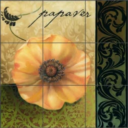 Yellow Poppy by Louise Montillio Ceramic Tile Mural - OB-LM66b