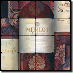 "Montillio Wine Labels Tumbled MarbleTile Mural 16"" x 16"" - OB-LM68a1"