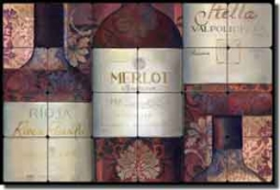 "Montillio Wine Labels Tumbled Marble Tile Mural 24"" x 16"" - OB-LM68a2"
