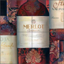 A Pattern Wine I by Louise Montillio Ceramic Tile Mural OB-LM68a