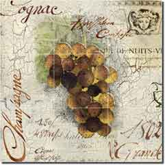 "Montillio Grape Wine Glass Tile Mural 18"" x 18"" - OB-LM95a"