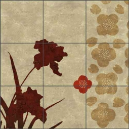Nine Branches - panel 10 by Louise Montillio Ceramic Tile Mural - OB-LM96c