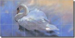"Macon Swan Bird Glass Tile Mural 36"" x 18"" - OB-LMA001"