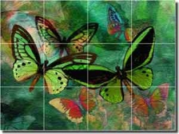 "Bradshaw Butterfly Glass Tile Mural 24"" x 18"" - OB-MB21"
