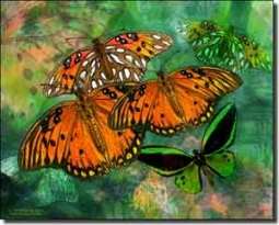 "Bradshaw Butterfly Ceramic Accent Tile 10"" x 8"" - OB-MB26aAT"