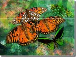 "Bradshaw Butterfly Floor Tile Mural 32"" x 24"" - OB-MB26a"