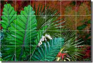 "Bradshaw Tropical Leaves Ceramic Tile Mural 25.5"" x 17"" - OB-MB32b"