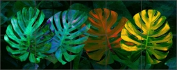 Tropical Triptych Monstera by Melinda Bradshaw Ceramic Tile Mural - OB-MB36
