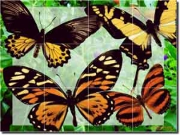 "Bradshaw Butterfly Glass Tile Mural 24"" x 18"" - OB-MB73b"