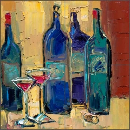Enjoy Your Wine by Maya Green Ceramic Tile Mural - OB-MG74