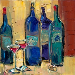 Enjoy Your Wine by Maya Green Ceramic Accent & Decor Tile - OB-MG74AT