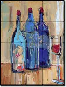 "Great Time, Great Wine by Maya Green - Tumbled Marble Tile Mural 18"" x 24"""
