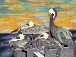 Pelicans by Paned Expressions Studios Ceramic Accent & Decor Tile - OB-PES04AT