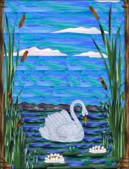Swan by Paned Expressions Studios Ceramic Accent & Decor Tile - OB-PES07AT