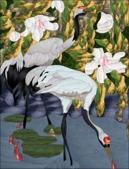 Cranes by Paned Expressions Studios Ceramic Accent & Decor Tile - OB-PES08AT