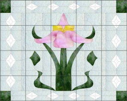 Victorian - Flowers n Diamonds by Paned Expressions Ceramic Tile Mural OB-PES101