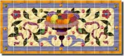 "Paned Expressions Fruit Bowl Ceramic Tile Mural 38.25"" x 17"" - OB-PES102"