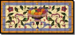 "Paned Expressions Fruit Bowl Tumbled Marble Tile Mural 36"" x 16"" - OB-PES102"